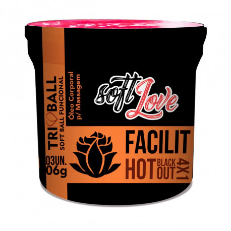 Bolinha Facilit Hot Blackout 4x1 Triball Soft Ball Funcional 3un Soft Love - ShopSensual