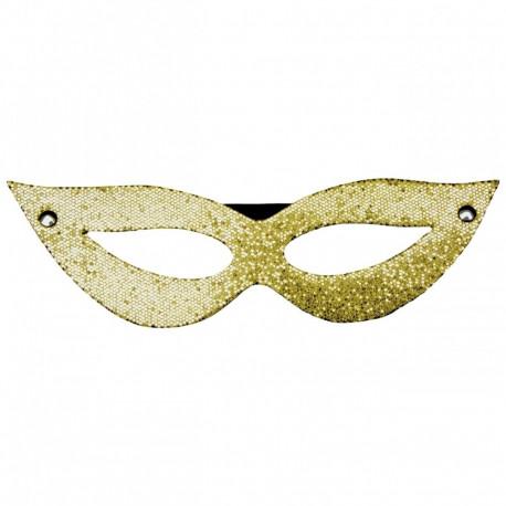 Máscara Tiazinha Luxo Glitter Dourada Dominatrix - ShopSensual