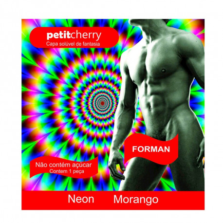 Capa Solúvel Morango Masculina de Fantasia Neon sem Costura de Gelatina Petit Cherry - ShopSensual