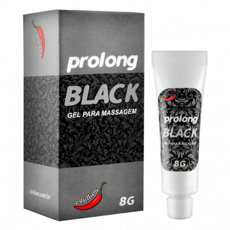 Prolong Black Gel para Massagem Corporal 8g Chillies - ShopSensual