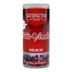Bolinha Beijável Kiss Me Ice Frutas Vermelhas 3 Unidades Satisfaction Caps - ShopSensual