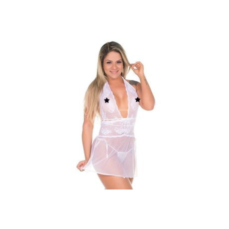 Camisola Renda Curta Branca Pimenta Sexy - Shopsensual