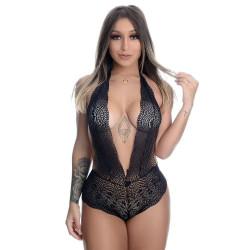Body Sexy Preto em Renda Frente Única Regulável - ShopSensual