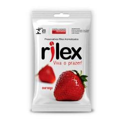 Preservativos Lubrificado com Aroma de Morango com 3 uni Rilex - ShopSensual