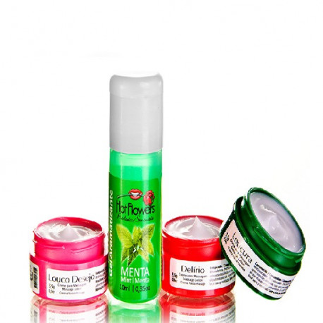 Kit Sedução Menta Hot Flowers - ShopSensual